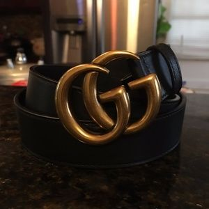 GG Black Leather Belt Size 85